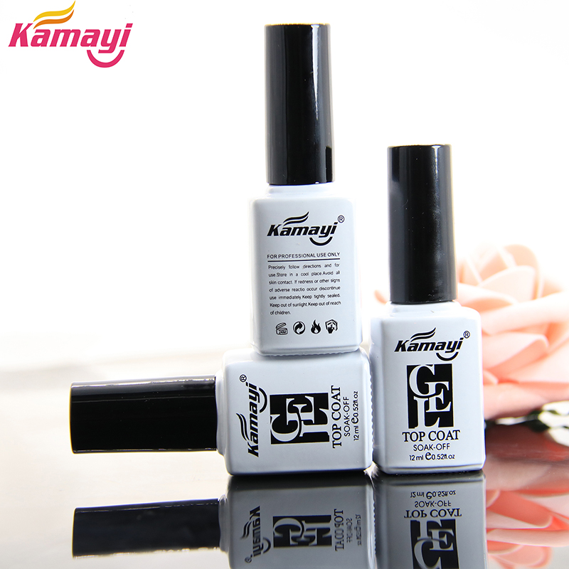 Kamayi varmt sælge neglekunst design makeup manikyr langvarig shinning glans uv gel neglelak hærdet top coat gel